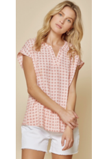 Andree Andree Woven Split Neck Top 2-847-1P