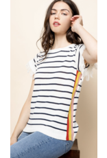 THML THML Stripe Knit Fringe Short Sleeve Top TMK1233