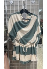 Blue Blush Blue Blush Striped One Shoulder Top and Shorts Set LS5094