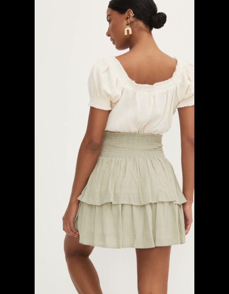 Lush Lush Flare Smocking Skirt S9057-CI