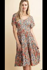 Style U Style U Floral Tiered Midi Dress S1228