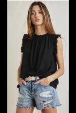 Ces Femme Ces Femme Ruffled Sleeve/Neck Top TT3612SC