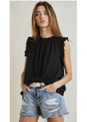 Ces Femme Ces Femme Ruffled Sleeve/Neck Top TT3612SC