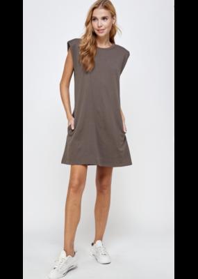 Ellison Ellison Sleeveless Power Shoulder Midi Dress RD-3121-6