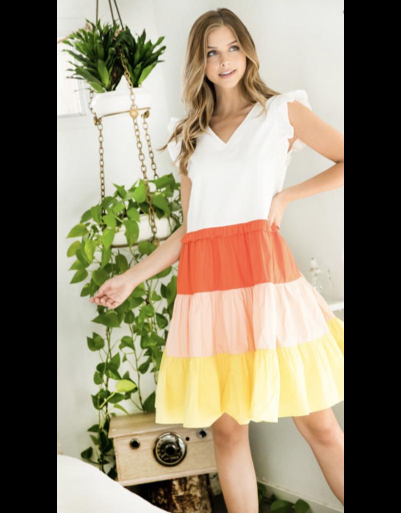 THML THML Color Block V Neck Dress THS0916