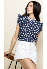 THML THML Spotted Flutter Sleeve Top THS0884-1