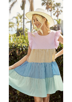 Bibi Bibi Stripe Color Block Tiered Dress IP4206