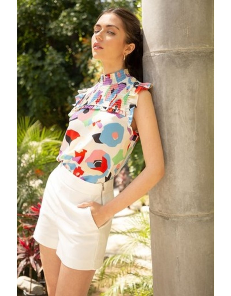 THML THML Smocked Multicolor Pattern Top TM5156-2