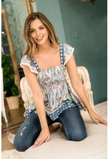 THML THML Smocked Paisley Print Top JH1340