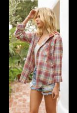 Hem & Thread Hem + Thread Hoodie Flannel Top 30965W
