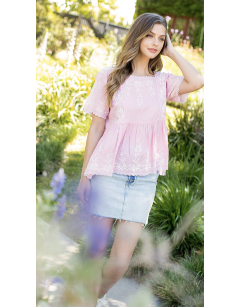 THML THML Sheer Embroidered Top SRT1086