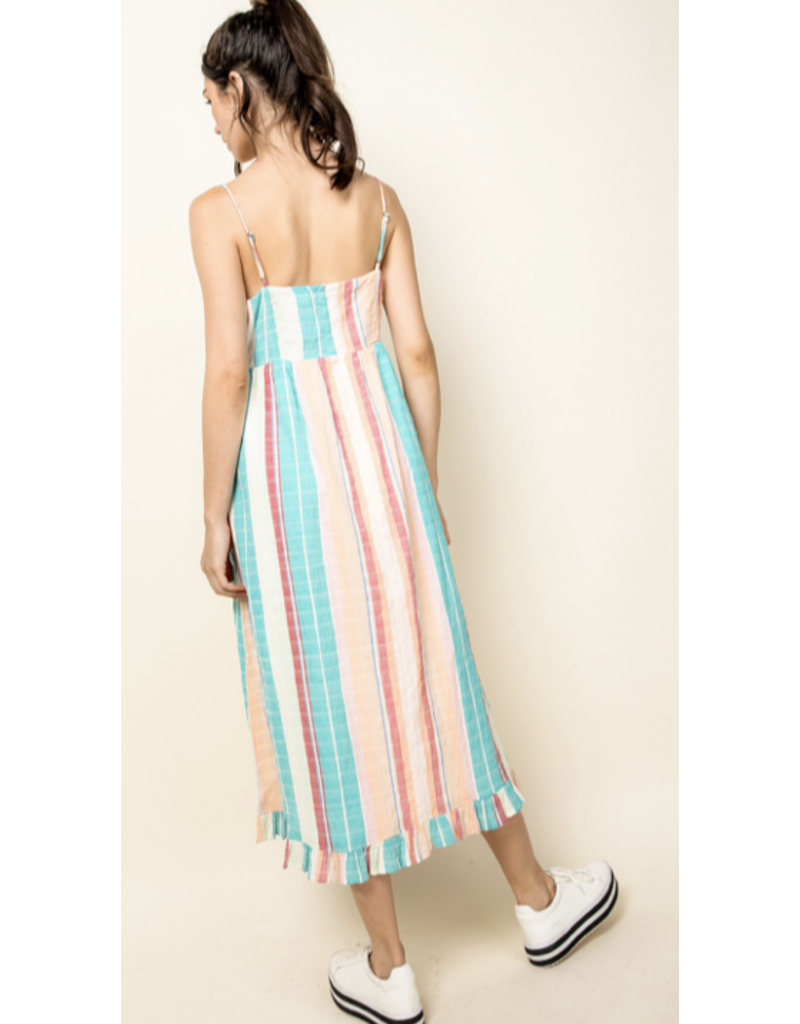 THML THML Multi Stripe Midi Dress SRT1123