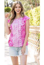 THML THML Embroidered Tie Dye Flutter Top THS0930-1