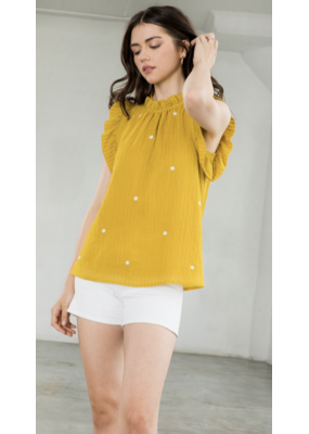 THML THML Embroidered Ruffle Sleeve Top WCT1005