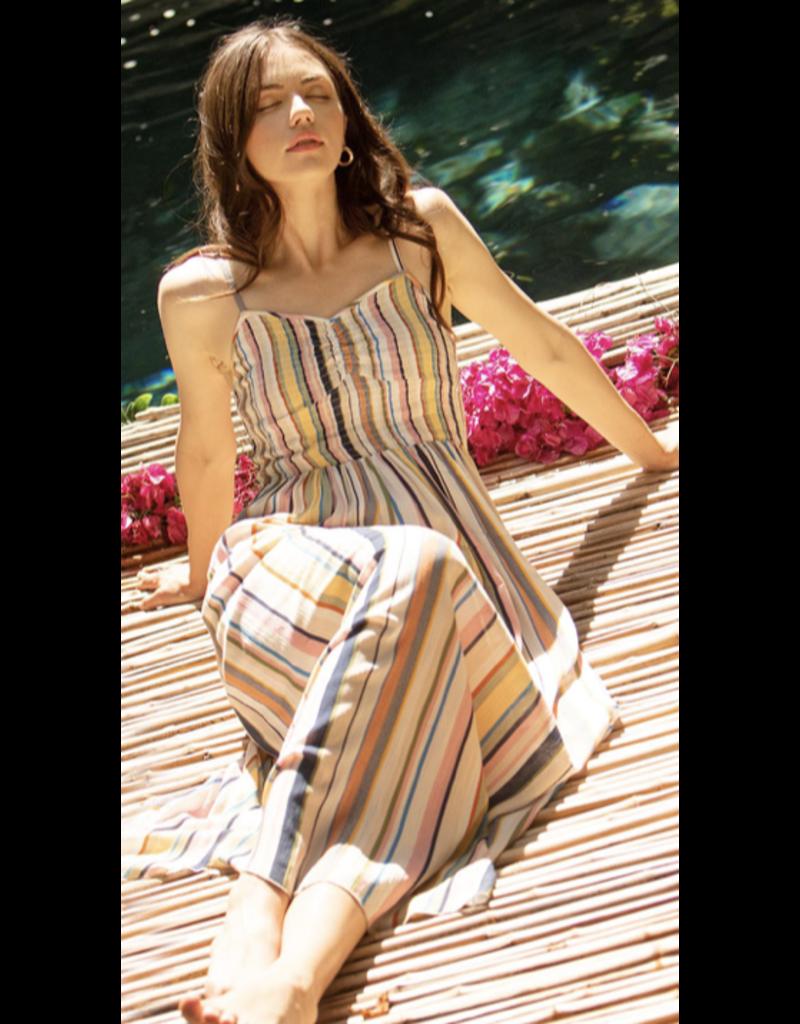 THML THML Striped Smocked Midi Dress WCT1017