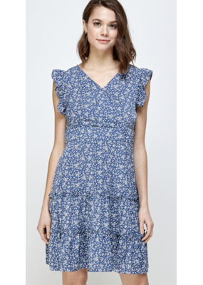 Solution Solution Ruffled Cap Sleeve Dress S-23786A