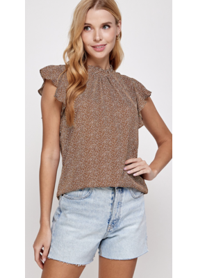 Solution Solution Ruffled Cap Sleeve Top S-23774A