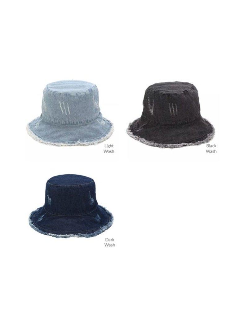 Aili's Corner Aili's Corner Frayed Edge Bucket Hat HDB