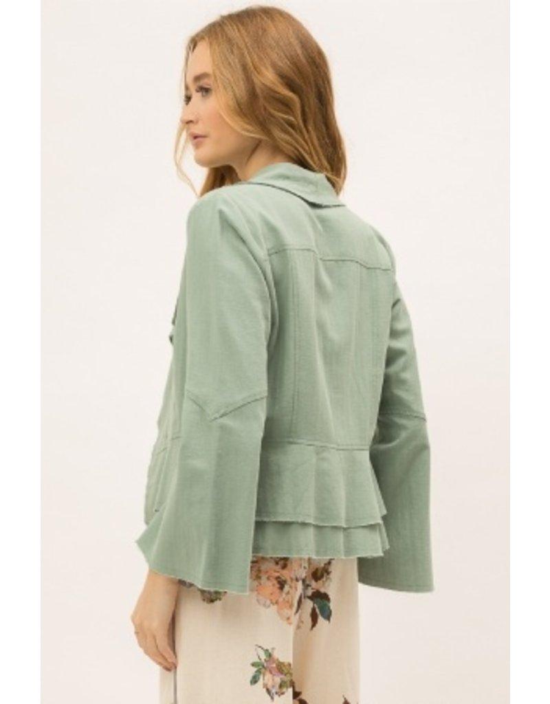 Mystree Mystree Linen Bell Sleeve Jacket 18921