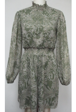 Mystree Mystree High Neck with Ruffle Detail Print Dress