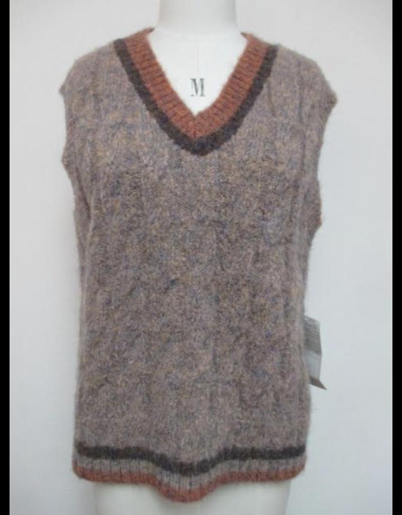 Mystree Mystree Cable Knit Sweater Vest