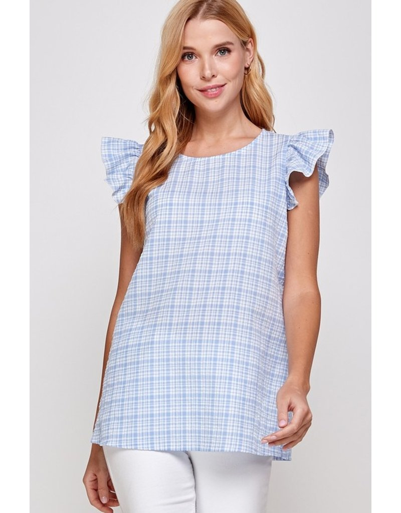 Solution Solution Plaid Print Ruffled Cap Sleeve Top S-23918