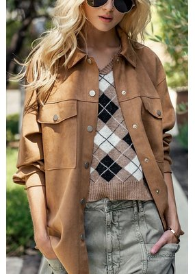 Trend Notes Faux Suede Oversized Jacket