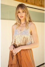 Mystree Mystree Lace and Leopard Sleeveless Top