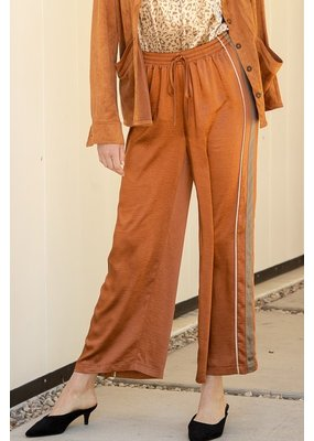 Mystree Mystree Side Stripe Satin Pants 19453