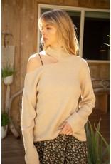 Mystree Mystree Cutout Shoulder Mock Neck Sweater