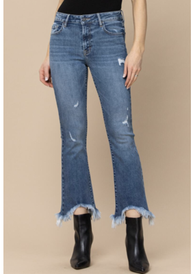 Hidden Frayed Cropped Flare Jeans