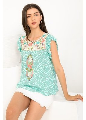THML THML Dotted Embroidered Yoke Top WCT931-1