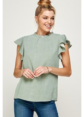 Solution Solution Ruffle Trim Printed Top S-24109