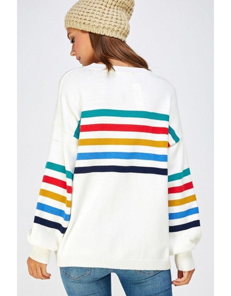 Solution Solution Multi Stripe Oversized Pullover