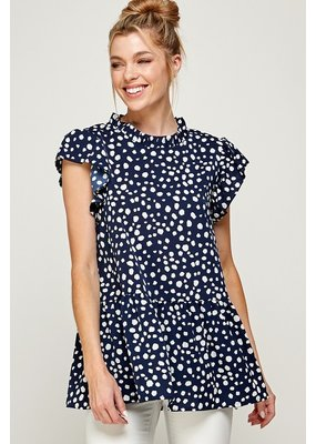 Solution Solution Ruffled Tiered Dotted Top S-24093