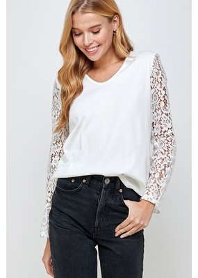 Solution Solution Floral Lace Sleeve Top S-23691A