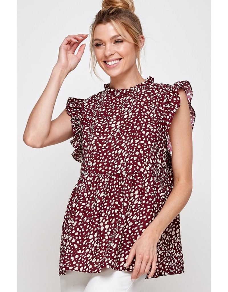 Solution Solution Animal Print Ruffled Cap Sleeve Top S-23838A