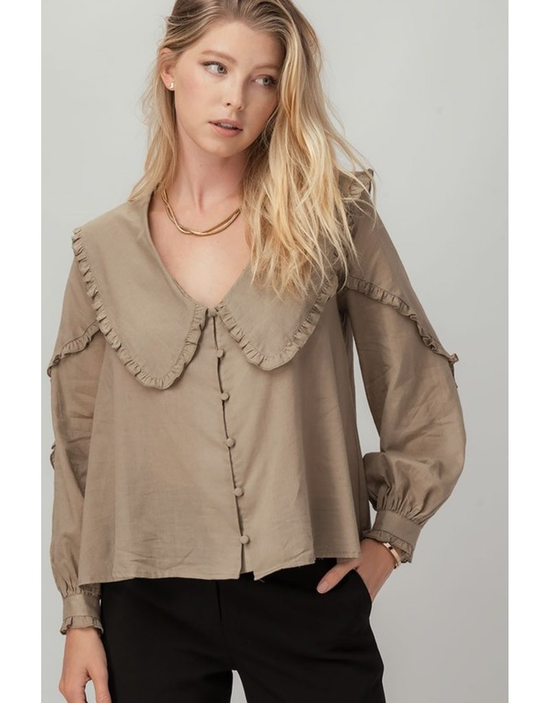 Trend Notes Trend Notes Ruffle Trim Wide Collar Blouse