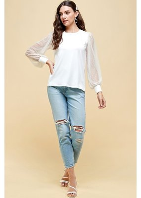 Les Amis Lace Sleeved Top