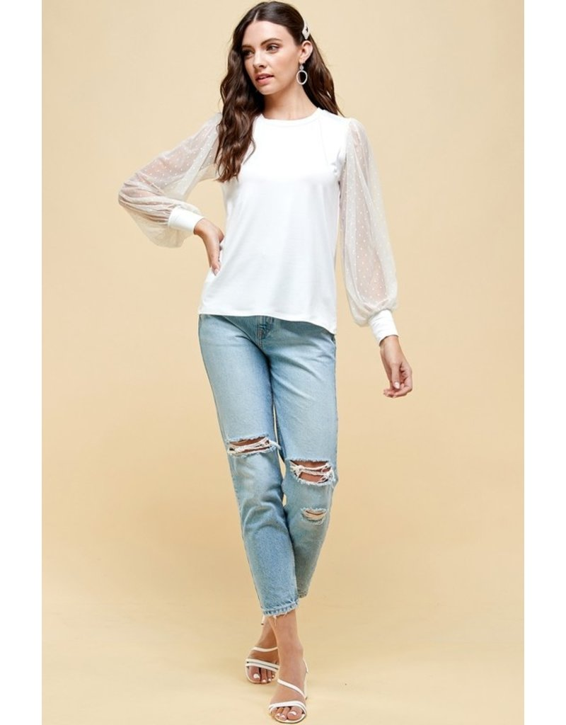 Les Amis Les Amis Lace Sleeved Top