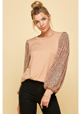 Les Amis Sequin Sleeve Top