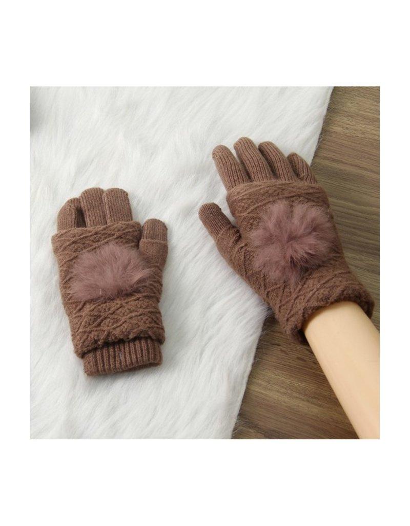 Accity Accity Pom Pom Fingerless Gloves