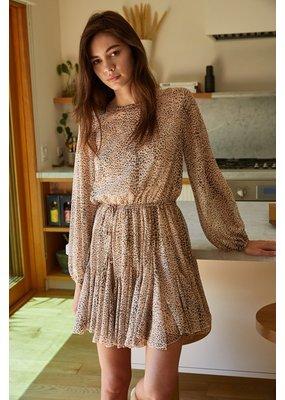 By Together Chiffon Long Sleeve Ruffle Dress