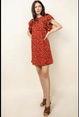 THML THML Printed Short Puff Flutter Sleeve Dress