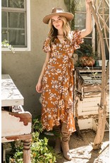 In the Beginning In the Beginning Floral Midi Wrap Dress