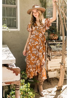 In the Beginning Floral Midi Wrap Dress