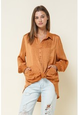 In the Beginning In the Beginning Satin Button Blouse