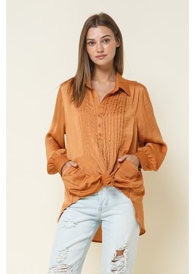 In the Beginning Satin Button Blouse