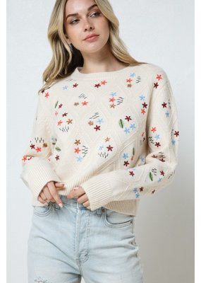 In the Beginning Embroidered Sweater