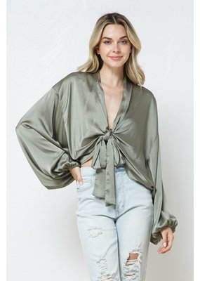 In the Beginning Satin Front Tie Blouse